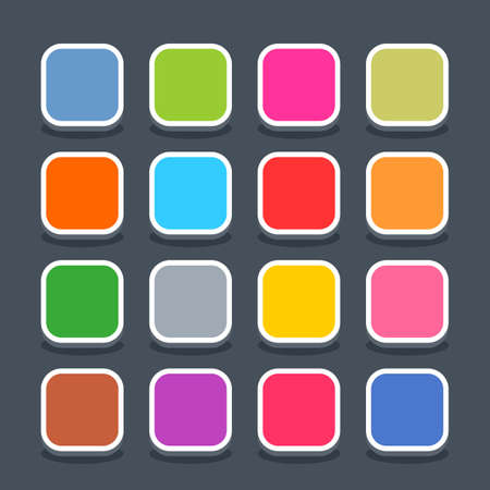 square button: 16 3d blank icon in flat style. Set 01 hover variant . Colored satin rounded square button with oval shadow on gray background. Vector illustration web internet design element saved in 8 eps