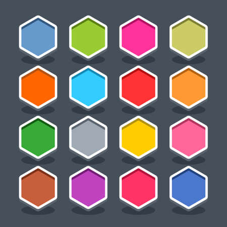 navigation panel: 16 3d blank icon in flat style. Set 01 clicked variant . Colored smooth hexagon button with oval shadow on gray background. Vector illustration web internet design element saved in 8 eps