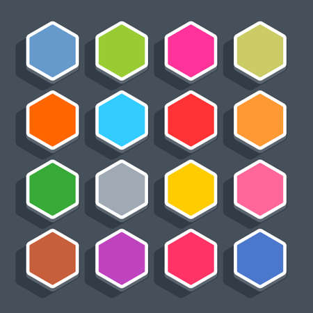 16 3d blank icon in flat style. Set 02 hover variant . Colored matted hexagon button with shadow on gray background. This vector illustration web internet design element saved in 8 eps Illustration