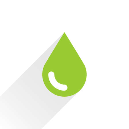 bionomics: Green color drop icon with gray long shadow on white background. Ecology sign in simple, solid, plain, flat style. This vector illustration graphic web design graphic element saved in 8 eps