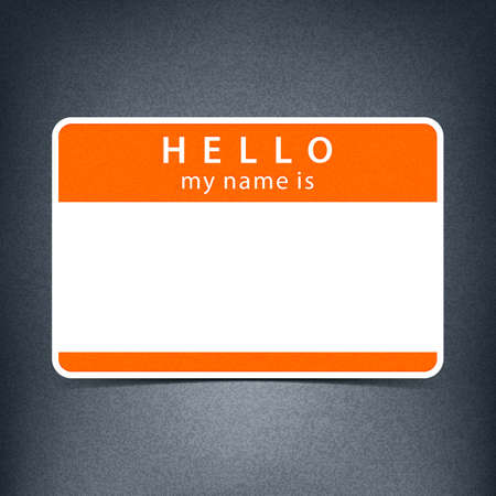 delegate: Color blank name tag sticker HELLO my name is. Rounded rectangular badge with drop shadow. Vector illustration clip-art element for design in 10 eps