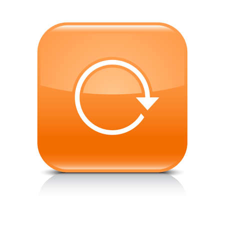 Orange icon with white arrow repeat, reload, refresh, rotation sign. Set 01. Rounded square button with gray reflection, black shadow on white background. Vector illustration web design in 8 eps Illustration