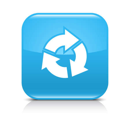 under control: Blue icon with white arrow refresh, repeat, reload, rotation sign. Set 04. Rounded square button with black shadow and gray reflection on white background. Vector illustration web design save in 8 eps