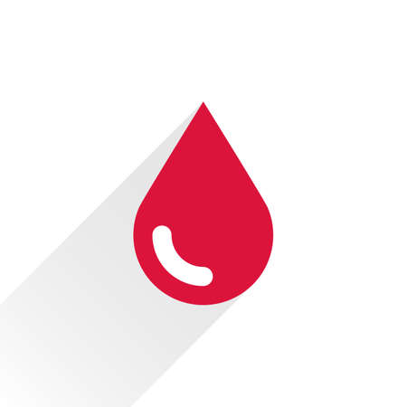 saved: Red color drop icon with gray long shadow on white background. Blood sign in simple, solid, plain, flat style. This vector illustration graphic web design graphic element saved in 8 eps Illustration