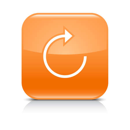 Orange icon with white arrow repeat, reload, refresh, rotation sign. Set 05. Rounded square button with gray reflection, black shadow on white background. Vector illustration web design in 8 eps Illustration