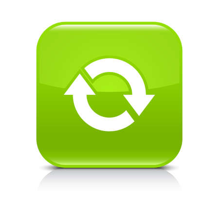 Green icon with white arrow repeat, reload, refresh, rotation sign. Set 03. Rounded square button with gray reflection, black shadow on white background. Vector illustration web design in 8 ep Stock Photo