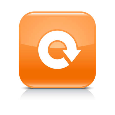 loopable: Orange icon with white arrow repeat, reload, refresh, rotation sign. Set 04. Rounded square button with gray reflection, black shadow on white background. Vector illustration web design in 8 eps