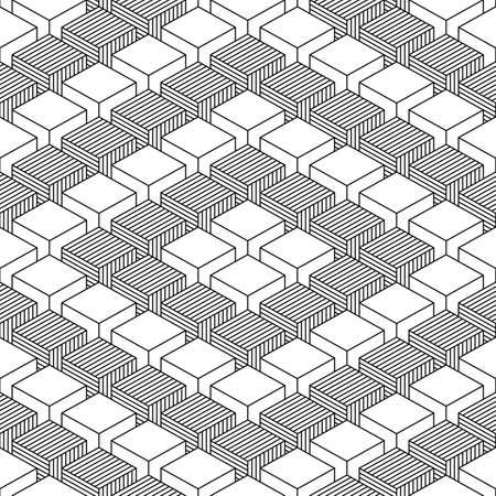 criss: Seamless pattern with 3-D effect cubes in perspective. Retro vintage abstract black and white background. Graphic vector illustration clip-art web design elements save in 8 eps