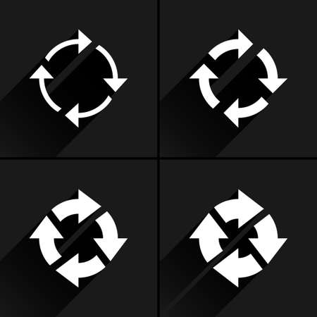 4 arrow icon. Set 04. Reset, repeat, reload, refresh, rotation sign. White pictogram with black long shadow on gray background. Simple, plain, solid, flat style Vector illustration web design 8 eps Illustration