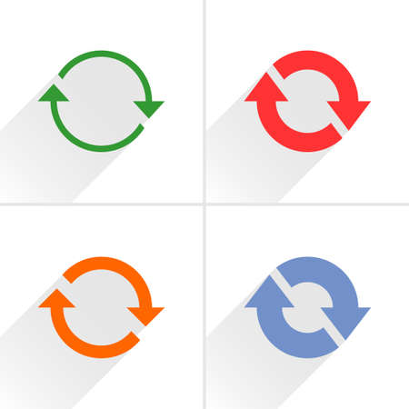 4 arrow icon. Set 02. Refresh, rotation, reset, repeat, reload sign. Color pictogram with gray long shadow on white background. Simple, solid, plain, flat style Vector illustration web design 8 eps Illustration