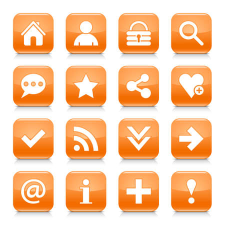 16 basic icon set 05. White sign on orange rounded square button with gray reflection, black shadow on white background. Glossy style. Vector illustration web design element in 8 eps