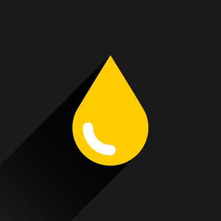 saved: Yellow color drop icon with black long shadow on dark gray background. Gold oil sign in simple, solid, plain, flat style. This vector illustration graphic web design graphic element saved in 8 eps