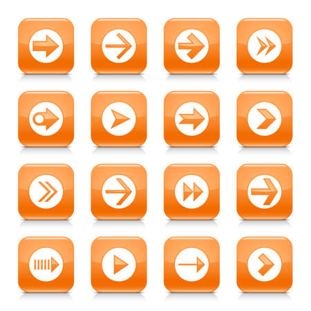 under control: 16 arrow icon set 03. White sign on orange rounded square button with gray reflection, black shadow on white background. Glossy style. Vector illustration web design element save in 8 eps Illustration