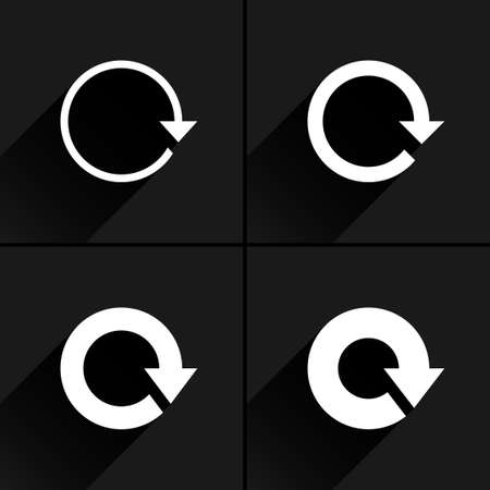 loopable: 4 arrow icon. Set 01. Reload, refresh, rotation, reset, repeat sign. White pictogram with black long shadow on gray background. Simple, plain, solid, flat style Vector illustration web design 8 eps