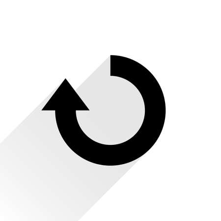 loopable: Black arrow icon reload, refresh, rotation, reset, repeat sign. Web pictogram with gray long shadow on white background. Simple, plain, flat style. Vector illustration graphic design 8 eps