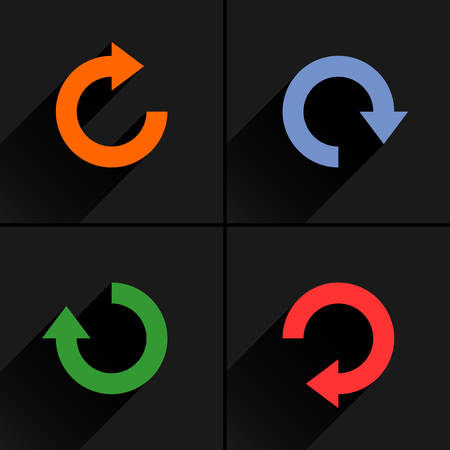 4 arrow icon refresh, rotation, reset, repeat, reload sign set 03. Orange, blue, green, red colors pictogram with black long shadow on gray background. Simple flat style vector illustration
