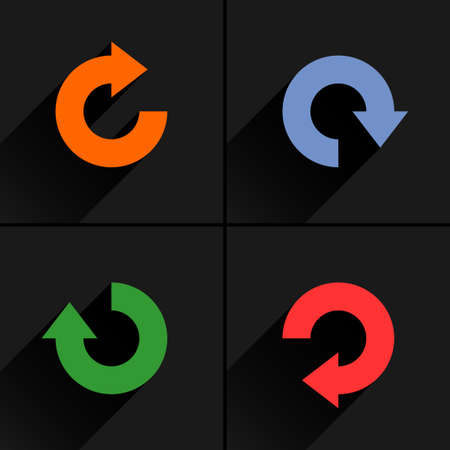4 arrow icon refresh, rotation, reset, repeat, reload sign set 04. Orange, blue, green, red colors pictogram with black long shadow on gray background. Simple flat style vector illustration Ilustrace
