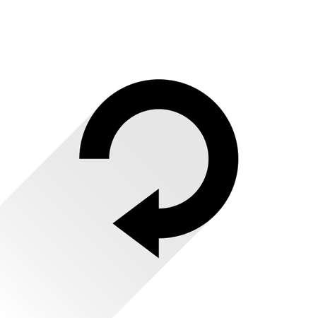 refrescar: Negro icono de la flecha de recarga, refrescar, rotación, reajuste, repetir señal. pictograma web con larga sombra gris sobre fondo blanco. ,, Estilo llano plano simple. Ilustración del vector de diseño gráfico 8 eps