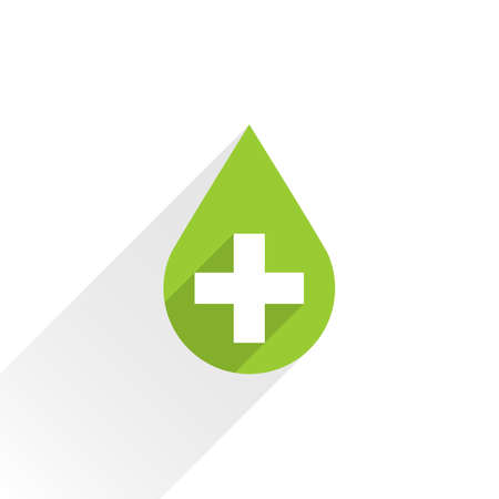 bionomics: First aid drop green sign with white cross with long shadow in simple flat style. Graphic design elements vector illustration save in 8 eps Illustration