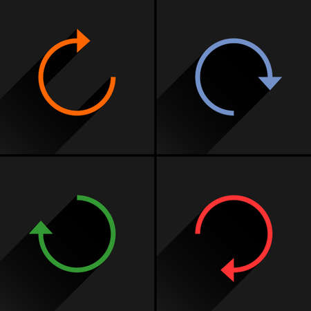 overload: 4 arrow icon refresh, rotation, reset, repeat, reload sign set 01. Orange, blue, green, red colors pictogram with black long shadow on gray background. Simple flat style vector illustration