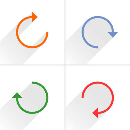 loopable: 4 arrow icon refresh, rotation, reset, repeat, reload sign set 01. Orange, blue, green, red colors pictogram with gray long shadow on white background. Simple flat style vector illustration Illustration