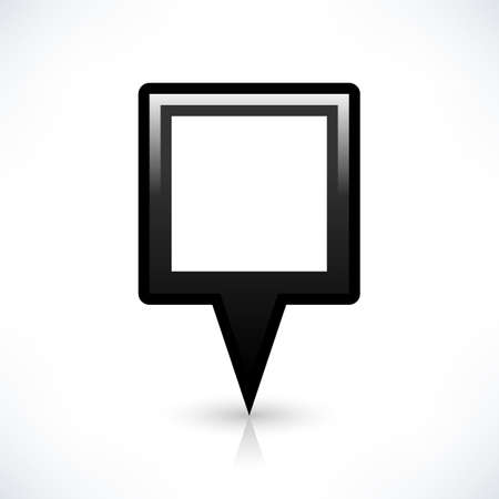 gray gradient reflection: Blank map pin location sign rounded square shape icon with gray shadow and gradient reflection isolated on white background in simple flat style. Web design element save in vector illustration 8 eps Stock Photo