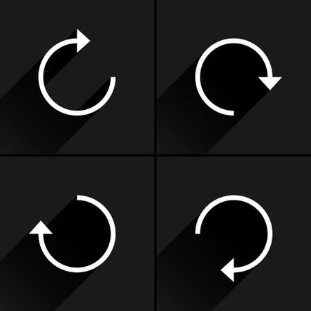 overload: 4 arrow icon refresh, rotation, reset, repeat, reload sign set 01. White pictogram with black long shadow on gray background. Simple, plain, solid, flat style. Vector illustration web design 8 eps