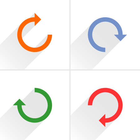 4 arrow icon refresh, rotation, reset, repeat, reload sign set 02. Orange, blue, green, red colors pictogram with gray long shadow on white background. Simple flat style vector illustration Stock Photo