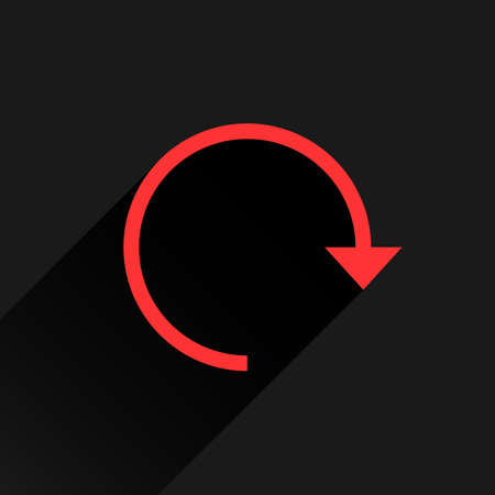 Red arrow icon reload, refresh, rotation, reset, repeat sign. Web pictogram with long shadow on black background. Simple, solid, plain, flat style. Vector illustration graphic design 8 eps