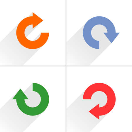 loopable: 4 arrow icon refresh, rotation, reset, repeat, reload sign set 04. Orange, blue, green, red colors pictogram with gray long shadow on white background. Simple flat style vector illustration