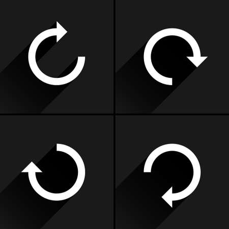 4 arrow icon refresh, rotation, reset, repeat, reload sign set 01. White pictogram with black long shadow on gray background. Simple, plain, solid, flat style. Vector illustration web design 8 eps