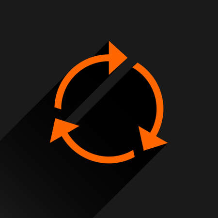 Orange arrow icon reload, refresh, rotation, reset, repeat sign. Web pictogram with long shadow on black background. Simple, solid, plain, flat style. Vector illustration graphic design 8 eps