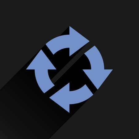 loopable: Blue arrow icon reload, refresh, rotation, reset, repeat sign. Web pictogram with long shadow on black background. Simple, solid, plain, flat style. Vector illustration graphic design 8 eps