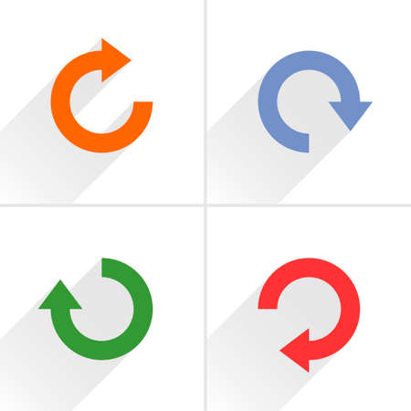 4 arrow icon refresh, rotation, reset, repeat, reload sign set 03. Orange, blue, green, red colors pictogram with gray long shadow on white background. Simple flat style vector illustration