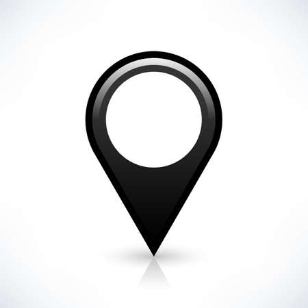 gray gradient reflection: Blank map pin location sign circle shape icon with gray shadow and gradient reflection isolated on white background in simple flat style. Web design element save in vector illustration 8 eps Stock Photo