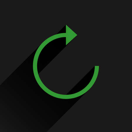 green arrow: Green arrow icon reload, refresh, rotation, reset, repeat sign. Web pictogram with long shadow on black background. Simple, solid, plain, flat style. Vector illustration graphic design 8 eps