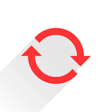 Red arrow icon reload, refresh, rotation, reset, repeat sign. Web pictogram with gray long shadow on white background. Simple, solid, plain, flat style. Vector illustration graphic design 8 eps Illustration