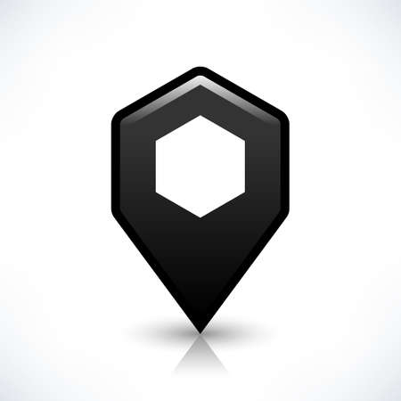 gray gradient reflection: Blank map pin location sign rounded hexagon shape icon with gray shadow and gradient reflection isolated on white background in simple flat style. Web design element save in vector illustration 8 eps