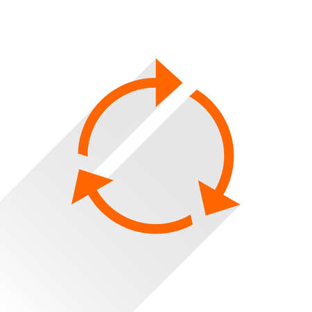 loopable: Orange arrow icon reload, refresh, rotation, reset, repeat sign. Web pictogram with gray long shadow on white background. Simple, solid, plain, flat style. Vector illustration graphic design 8 eps