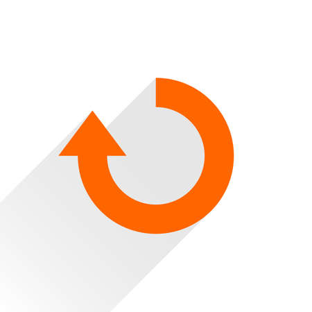 Orange arrow icon reload, refresh, rotation, reset, repeat sign. Web pictogram with gray long shadow on white background. Simple, solid, plain, flat style. Vector illustration graphic design 8 eps