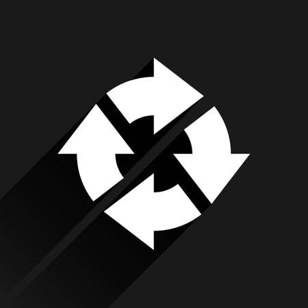 loopable: White arrow icon reload, refresh, rotation, reset, repeat sign. Web pictogram with long shadow on black background. Simple, solid, plain, flat style. Vector illustration graphic design 8 eps