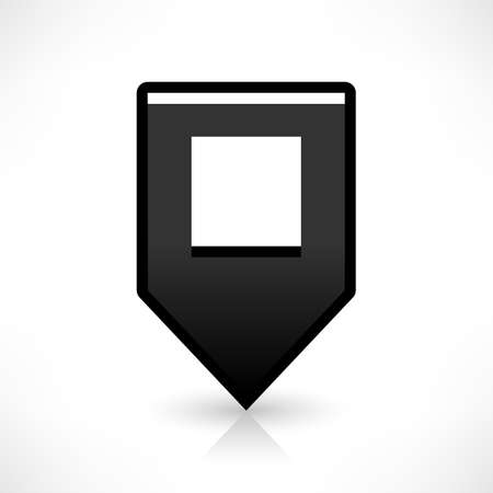 gray gradient reflection: Map pin location sign rounded square icon in flat style. Simple black shapes with gray gradient oval shadow and reflection isolated on white background. Web design element vector illustration 8 eps