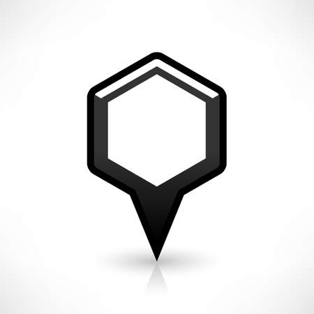 saved: Blank map pin location sign rounded hexagon icon in flat style. Empty black shapes with gray oval shadow and reflection on white background. Web design element saved in vector illustration 8 eps Illustration