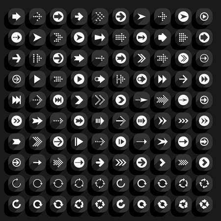 loopable: 100 arrow flat icon with long shadow. Black and white sign on rounded square shapes web button on background. Minimal simple plain style. Vector illustration design element save 8 eps