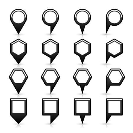 satined: 16 map pins sign location icon with gray reflection and shadow in flat satined style. Set 04 simple black smooth shapes on white background. This vector illustration web design element save in 8 eps Illustration