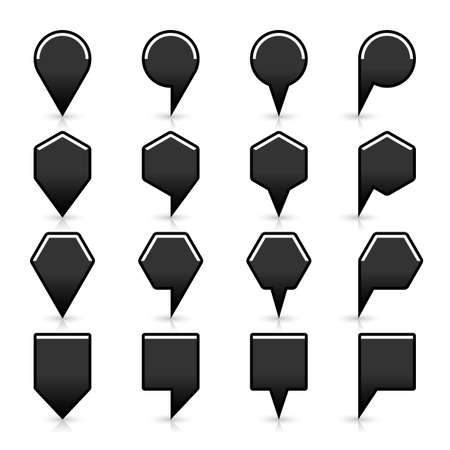 satined: 16 map pins sign location icon with gray reflection and shadow in flat satined style. Set 01 simple black smooth shapes on white background. This vector illustration web design element save in 8 eps