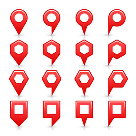 Flat red color map pin sign location icon with gray shadow and reflection isolated on white background. Web design element save in vector illustration 8 eps
