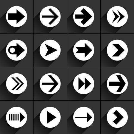 under control: 16 arrow flat icon with black long shadow. White sign on dark gray background. Tidy, clean, simple, minimal, solid, plain style. Vector illustration web internet design element 8 eps