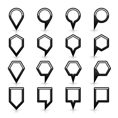 satined: 16 map pins sign location icon with gray reflection and shadow in flat satined style. Set 06 simple black smooth shapes on white background. This vector illustration web design element save in 8 eps