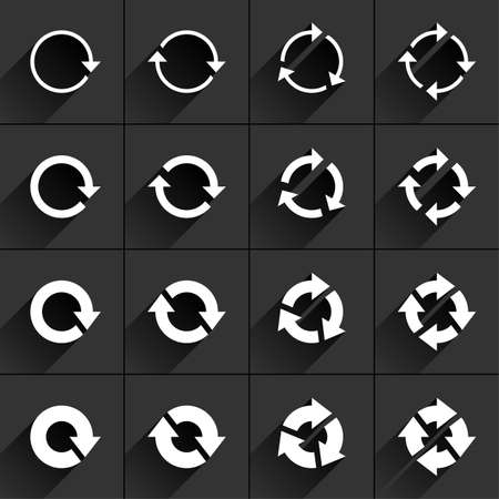 tidy: 16 arrow flat icon with black long shadow. White sign on dark gray background. Tidy, clean, simple, minimal, solid, plain style. Vector illustration web internet design element 8 eps